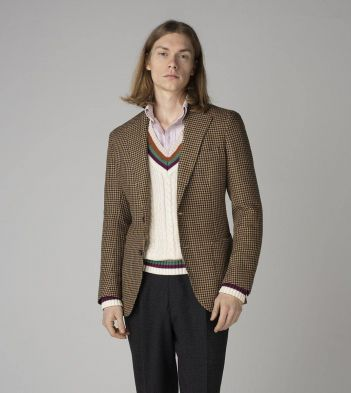 Taupe Houndstooth Linen-Silk-Cotton Jacket