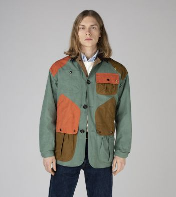 Sage Green, Khaki and Orange Patchwork Waxed Cotton Chasseur Jacket
