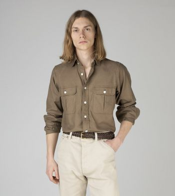 Khaki Cotton Two-Pocket Work Shirt
