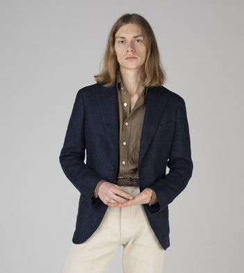 Mid-Blue Herringbone Linen-Silk Jacket