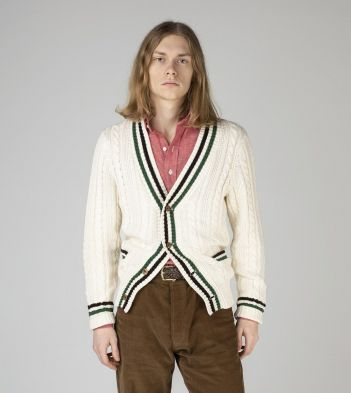 Ecru Cotton-Cashmere Cricket Cardigan