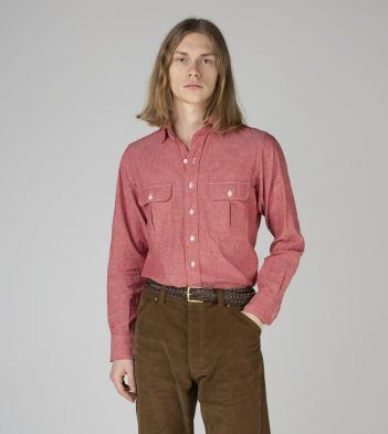 Red Chambray Cotton Two-Pocket Work Shirt
