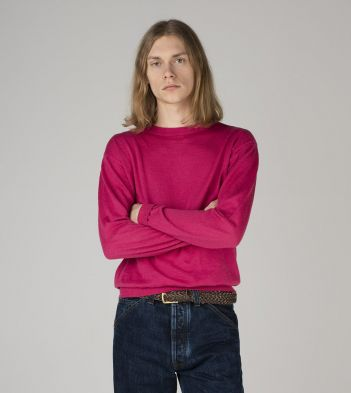 Magenta Linen-Cotton Crew Neck Jumper