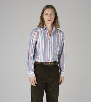 Dusty Blue, Red and Green Stripe Oxford Cloth Button-Down Shirt