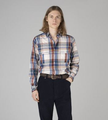 Blue and Red Check Poplin Two-Pocket Work Shirt