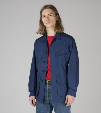 French Blue Japanese Ripstop Cotton Jungle Jacket