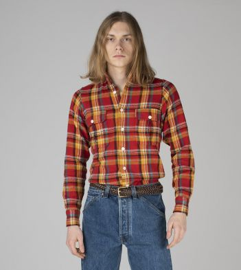 Red, Yellow and Blue Check Japanese Flannel Two-Pocket Work Shirt