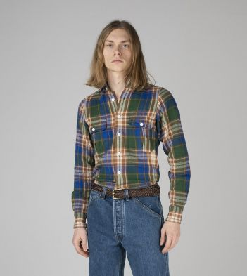 Green, Blue and Orange Check Japanese Flannel Two-Pocket Work Shirt