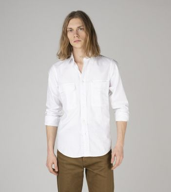 White Cotton Two-Pocket Work Shirt