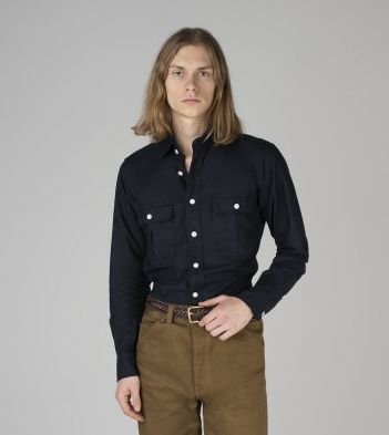 Navy Cotton Two-Pocket Work Shirt