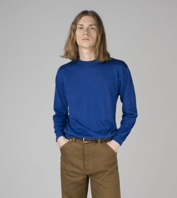 Blue Linen-Cotton Crew Neck Jumper