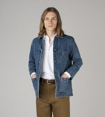 Bleach Wash Selvedge Denim Five-Pocket Chore Jacket