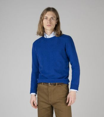Bright Blue Cashmere Seed Stitch Jumper