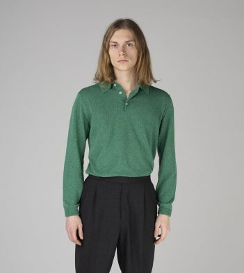 Bright Green Knitted Silk Long-Sleeve Polo Shirt