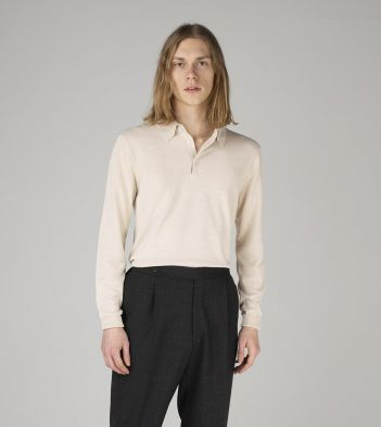 Off-White Knitted Silk Long-Sleeve Polo Shirt