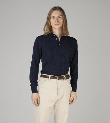 Navy Knitted Silk Long-Sleeve Polo Shirt
