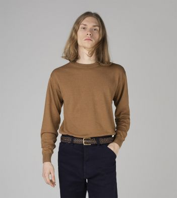 Tan Linen-Cotton Crew Neck Jumper
