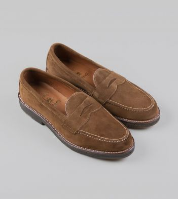 Alden for Drake's Tobacco Suede Penny Loafer with Double Crepe Sole