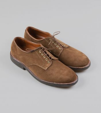 Alden for Drake's Tobacco Suede Plain-Toe Blucher with Double Crepe Sole