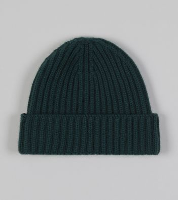 Green Cashmere Ribbed Knit Cap