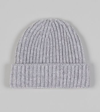 Grey Cashmere Ribbed Knit Cap