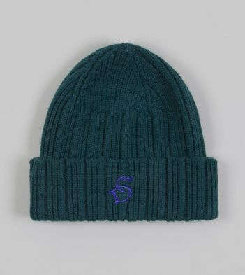 Forest Green Angora Lambswool Ribbed Knit Cap