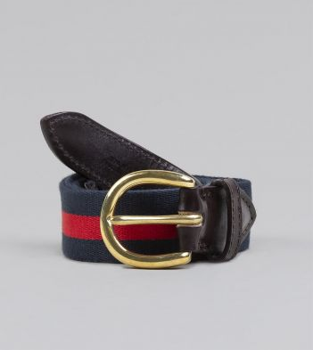 Navy and Red Stripe Webbing and Leather Belt with Brass Buckle