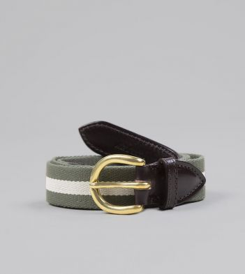 Olive and Ecru Stripe Webbing and Leather Belt with Brass Buckle