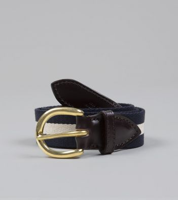 Navy and Ecru Stripe Webbing and Leather Belt with Brass Buckle