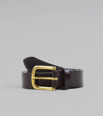 Dark Brown Unlined Bridle Leather Belt with Brass Buckle