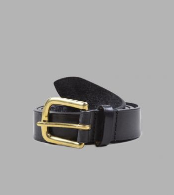 Black Unlined Bridle Leather Belt with Brass Buckle