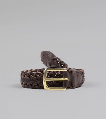 Brown Plaited Bridle Leather Belt with Brass Buckle