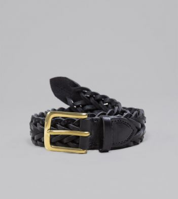 Black Plaited Bridle Leather Belt with Brass Buckle