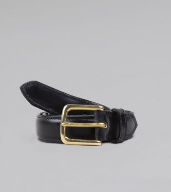 Black Fully Lined Bridle Leather Belt with Brass Buckle