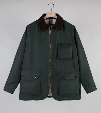 Green Waxed Cotton Coverall Jacket