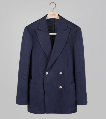 Navy Linen Four-Button Double-Breasted TailoredJacket