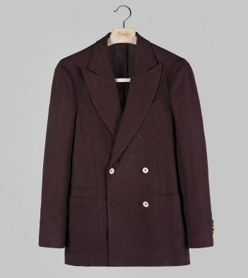 Brown Linen Four-Button Double-Breasted TailoredJacket