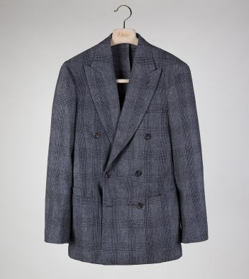 Grey Prince of Wales Check Wool Flannel Double-Breasted TailoredJacket