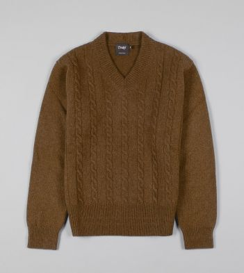 Tan Cashmere Wool Cable Knit V Neck Jumper