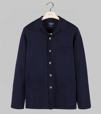 Navy Knitted Wool Five-Pocket Chore Jacket