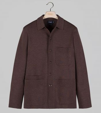 Brown Knitted Wool Five-Pocket Chore Jacket
