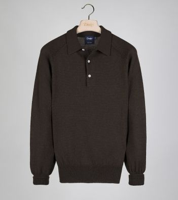Olive Merino Wool Knitted Polo
