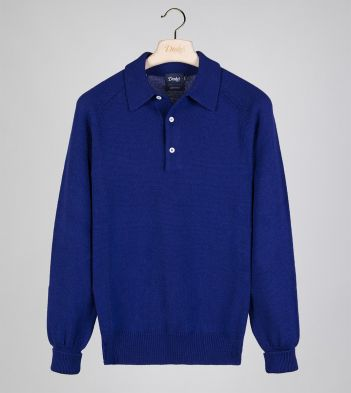 Blue Merino Wool Knitted Polo