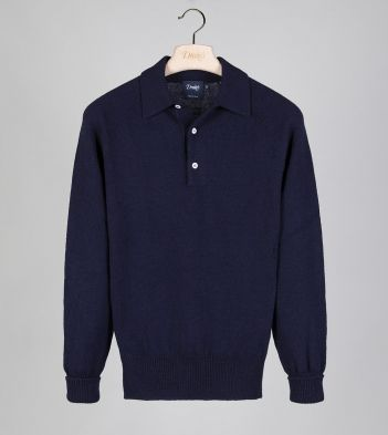 Navy Merino Wool Knitted Polo