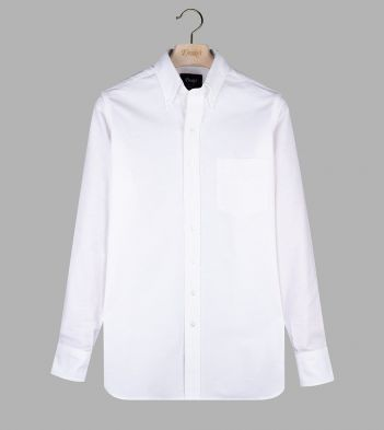 White Oxford Cotton Cloth Button-Down Shirt
