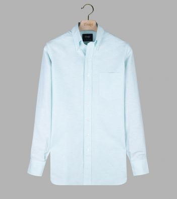 Aqua Cotton Oxford Cloth Button-Down Shirt