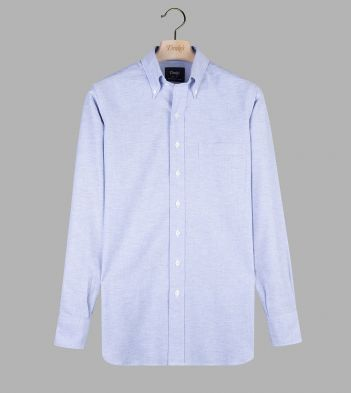Mid-Blue Cotton Oxford Cloth Button-Down Shirt