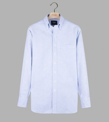 Ice Blue Cotton Oxford Cloth Button-Down Shirt