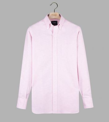 Bright Pink Cotton Oxford Cloth Button-Down Shirt