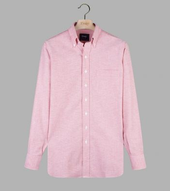 Light Red Cotton Oxford Cloth Button-Down Shirt
